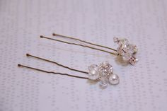 Pearl and crystal snowball hair pins from Jeweliette Jewellery $30 each