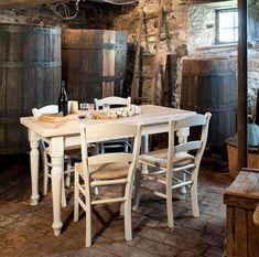 tavolo da cucina allungabile in legno gambe tornite shabby chic con 4 sedie in legno mod