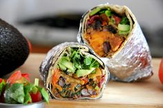 I'm in love! Spicy Bean and Sweet Potato Burritos via Tali's Tomatoes
