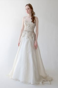 LUCIA Silk organza ball gown with beaded embroidery