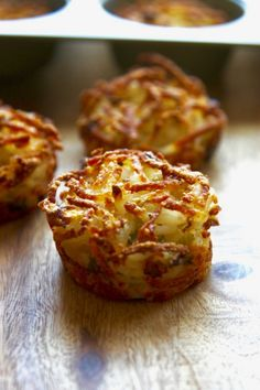 Close up few of crispy potato Parmesan Baked Hash Browns just out of the oven