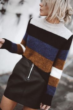 love the bold stripes on the sweater. also always thought a faux leather skirt would be cute but havent been able to find one that fits like i want (fitted but not super tight and fits my waist which is much smaller than my hips)