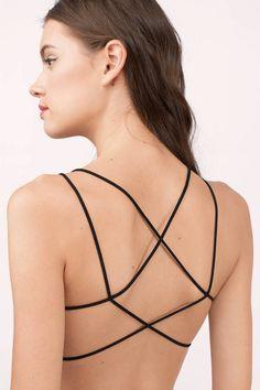 "Search ""Undone Black Bralette"" on Tobi.com! strappy comfy seamless bra intimates lingerie cropped layer layering underwear loungewear"