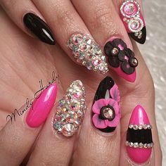 Pink, Black and diamond nails.......
