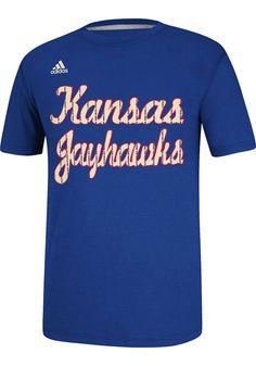 5330f333 Adidas Kansas Jayhawks Blue Pintstripe Short Sleeve T Shirt, Blue, 100%  COTTON, Size XL