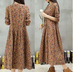 Womens Vintage BOHO Long Floral Loose Dress Flax Cotton Summer Casual Dress Size