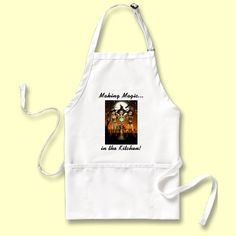 Making Magic in the kitchen Witch Apron by XG Designs NYC. #Witch #Apron #Pagan