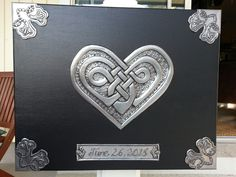 """Florida Celtic Art - Embossed pewter metal knotted heart with date plaque and corner embellishments (on 20"""" x 16"""" canvas with acrylic paint)"""