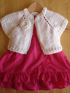 free knitting pattern for baby girl bolero Baby Cardigan Knitting Pattern, Shrug Pattern, Baby Knitting Patterns, Baby Patterns, Crochet Patterns, Knit Shrug, American Girl Clothes, Girl Doll Clothes, Knitting For Kids