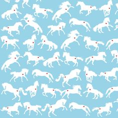 Prancing Ponies in the Big Blue fabric by smuk on Spoonflower - custom fabric