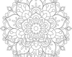 A flower Mandala printable coloring page in PDF file format.  Watermark will be removed in the purchased file and will not print.