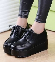 Women's Creeper Shoes Hiking Casual Platform Shoes Lace Up Oxfords Black US 7 | eBay