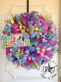Happy Easter Deco Mesh Wreath by DesignsbyJordanTX on Etsy