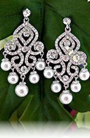 Earrings   Beautiful Crystal Jewelry Earrings with Pearl Dangle Design
