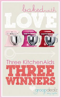 Click and enter to win a Kitchen Aid... We are giving THREE away! They are so cute!  :D #giveaway