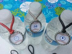 Sports theme party favors, water bottle charms, pick you theme add names and player numbers