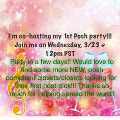 """Co-hosting my first party  Thank you all who came and supported me on my first party luv u all ..i am co-hosting my first posh party this Wednesday 3/23 12-2 pm PST (3-5 EST). Please help me spread the word . I am looking for fab """"Best in Jewelry & Accessories"""".. I am so excited and can't wait to get started.. Wish me luck .. And tag ur self or anyone who is new so I can host pick from there closets.. Jewelry"""
