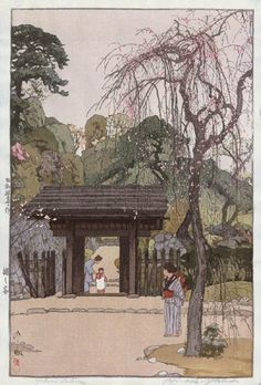 Plum Gateway  by Hiroshi Yoshida, 1935  my grandmother bought this print when she visited japan over 60 years ago and I have it hanging in my bedroom