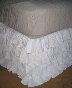 Ruffled White Bedskirt $161 to $219 - wonder if I could make this myself cheaper cuz I really want this in Iz's room!