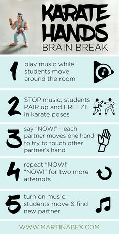 Karate hands is a fast brain break you can do with your students that will get them to cross their mid line and interact with clssmates Music Education Lessons, Physical Education Games, Character Education, Health Education, School Age Activities, Brain Activities, Motor Activities, Physical Activities, Fun Classroom Games