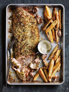 fennel and herb-crusted salmon with garlic potatoes from donna hay magazine.
