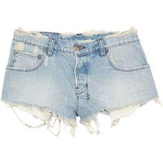 Ksubi Alberqeque distressed denim shorts ($200) ❤ liked on Polyvore