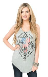 Rock & Roll Cowgirl Women's Grey Steer Racer Back Casual Knit Tank Top | Cavender's