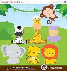 ON SALE Jungle Animals Baby Digital Clipart / by ClipArtopia, $3.00