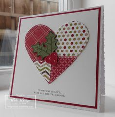 handmade Christmas card: Christmas is love ... patchwork heart with faux stitching ... perfect for a heartfelt country Valentine too ... like the simplicity of the layout ...