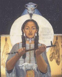 White Buffalo Calf Woman - greatest prophet of the lakota nation - bringer of the pipe ceremony & prayer to the nation- Mitakuye Oyasin Native American Music, Native American Wisdom, Native American Beauty, American Spirit, American Indian Art, Native American History, Native American Indians, American Bison, Buffalo S
