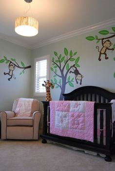 Jungle nursery really like this : replace the pink with blue or green and make it for a boy