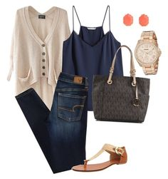 """""""Casual but still Dressy"""" by emberly5280 on Polyvore featuring Kendra Scott, Chicnova Fashion, H&M, American Eagle Outfitters, Diana Warner, Michael Kors and FOSSIL"""