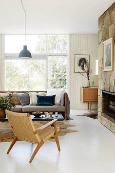 danish interior design white living room with cuba chair