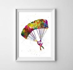 Skydiver watercolor Print - Skydiving Painting, Parachuter art, Sport decor, Parachutist print, Boys wall art, Kids room decor