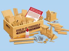 With more than 80 pieces in a bunch of shapes, plus a hammer, nails, and project instructions, this woodworking kit ($30) is all your kid needs to build up a business.