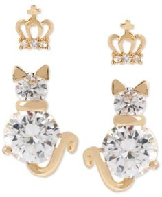 Betsey Johnson Gold-Tone Crystal Crown and Cat Stud Earring Set - You'll be feline regal in these shimmery stud earrings from Betsey Johnson! The stud duo features crystal accents on cat and crown designs. Set includes two pairs. Post and screw-back closure. Crafted in gold-tone mixed metal.