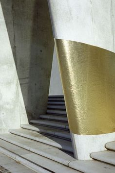 gold stairway -  Le Corbusier, Marseilles (thisivyhouse)