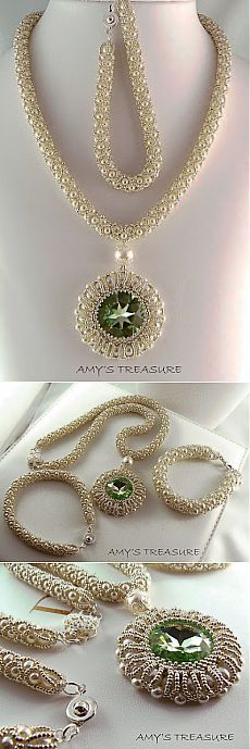 Amy's treasure: Eskembeskemre majdnem kesz a szett - DIY Schmuck Seed Bead Necklace, Seed Bead Jewelry, Bead Jewellery, Beaded Necklace, Beaded Bracelets, Pearl Necklaces, Jewelry Necklaces, Pendant Necklace, Jewelry Tags
