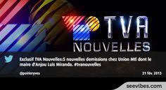 22 Février 2013: Le scandale de corruption connait de nouveaux rebondissements et les québécois suivent l'actualité jusque sur Twitter, nombreux retweets pour cette annonce de TVA nouvelles hier soir - #Seevibes #TopRetweet #Twitter #TVANouvelles - https://twitter.com/poirieryves/status/304697937563361280