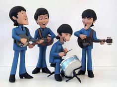 The Beatles polymer clay Beatles Party, Beatles Cake, Polymer Clay Figures, Polymer Clay Dolls, Vinyl Toys, Vinyl Art, Beatles Photos, Saturday Morning Cartoons, The Fab Four