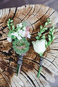 green pink boutonnieres, photo by Izzy Hudgins Photography http://ruffledblog.com/a-modern-new-years-celebration #grooms #flowers