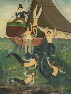 Ralph Cahoon (1910 - 1982) MERMAIDS AND SAILORS TAKING A DIP