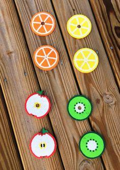 Fruit coasters, Coasters, Fruit Coaster, Fruit, Coaster, Drink Coasters, Coaster and Drink lid set, Perler beads by AmeliasWreathsofJoy by AmeliasWreathsofJoy on Etsy