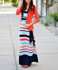 So Perla Mint & Coral Stripe Tie-Waist Maxi Dress | zulily