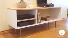 Today on Modern Builds, I'll teach you how to create an awesome mid-century modern console table. This is a great project for beginning woodworkers because it doesn't involve any complicated joinery or techniques. Build A Tv Stand, Tv Stand Plans, Diy Tv Stand, Mid Century Modern Dresser, Mid Century Modern Furniture, Tv Stand And Coffee Table, Dresser Tv Stand, Dresser Plans, Mid Century Coffee Table