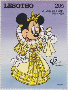 """Minnie como dama de la corte, 1540-1660 """"Granada '92"""" 13/04/1992 Lesotho"""