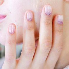 Glitter moons up close and personal  : @aliciatnails #nails #nailsdid #manicure #mani #naturalnails #naturalnail