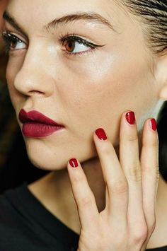 Matching your nails to your lip color is always a good idea.