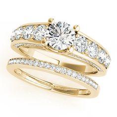 Round Cut Diamond Engagement Ring Bridal Set 14k Yellow Gold 3.00ct - Allurez.com
