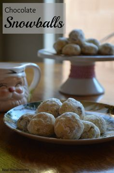 Chocolate Snowball Cookies on a plate